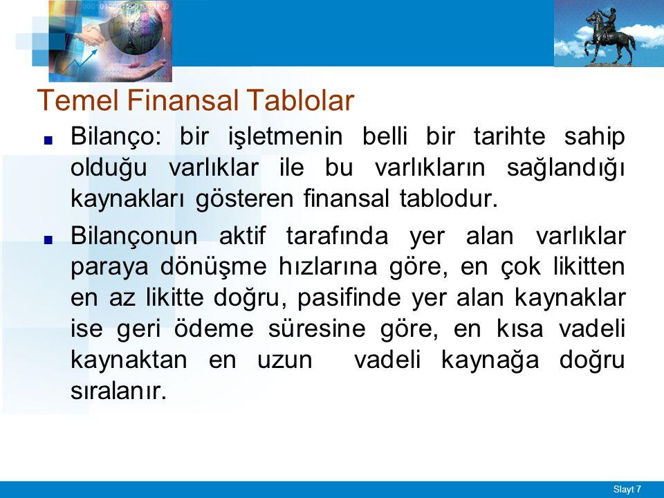 Slayt 7 Temel Finansal Tablolar ■ Bilanço: bir işletmenin belli bir tarihte sahip olduğu varlıklar ile bu varlıkların sağlandığı kaynakları gösteren finansal tablodur.