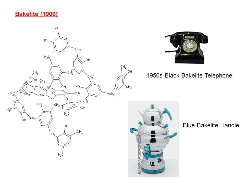 Bakelite (1909) 1950s Black Bakelite Telephone Blue Bakelite Handle
