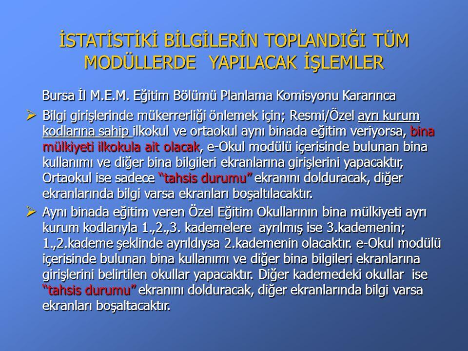 İSTATİSTİKİ BİLGİLERİN TOPLANDIĞI TÜM MODÜLLERDE YAPILACAK İŞLEMLER Bursa İl M.E.M.