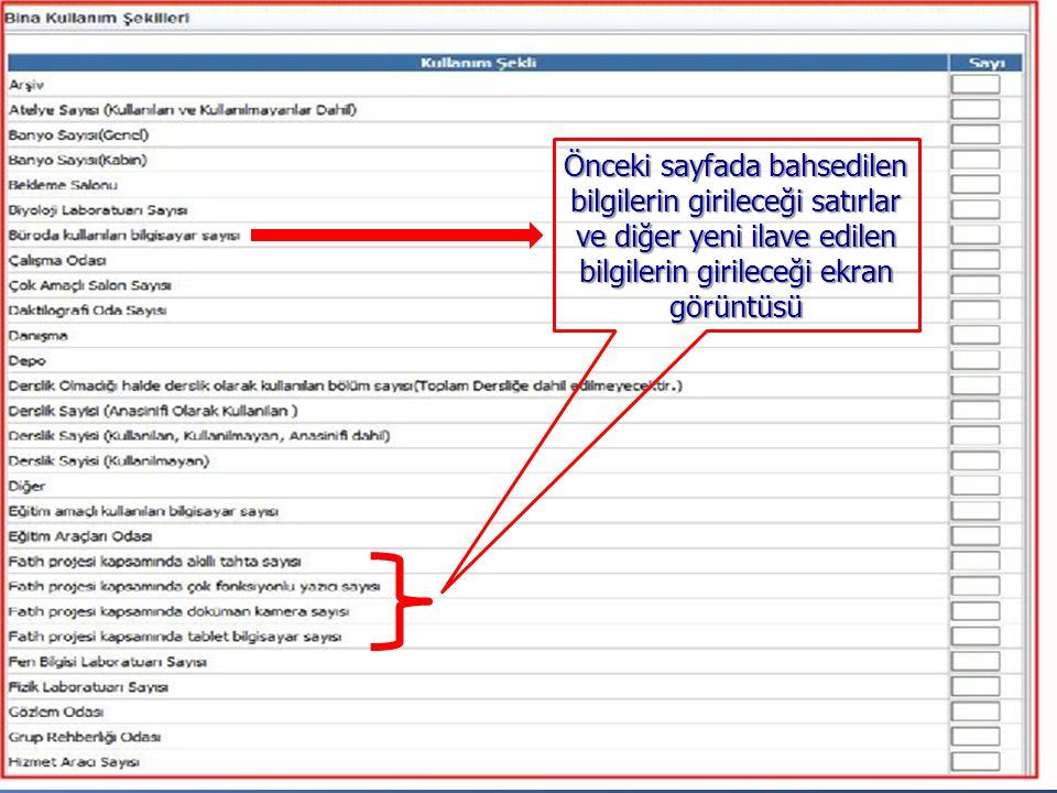 Önceki sayfada bahsedilen bilgilerin girileceği satırlar ve diğer yeni ilave edilen bilgilerin girileceği ekran görüntüsü