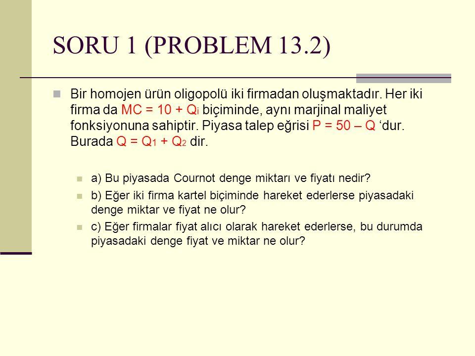 SORU 1 (PROBLEM 13.2) Bir homojen ürün oligopolü iki firmadan oluşmaktadır. Her iki firma da MC = 10 + Q i biçiminde, aynı marjinal maliyet fonksiyonu