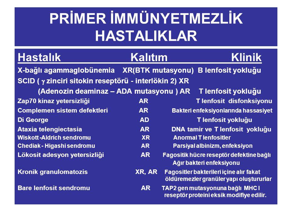 PRİMER İMMÜNYETMEZLİK HASTALIKLAR Hastalık Kalıtım Klinik X-bağlı agammaglobünemia XR(BTK mutasyonu) B lenfosit yokluğu SCID (  zinciri sitokin resep