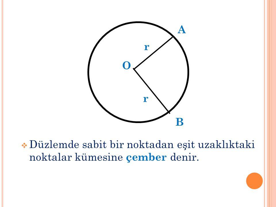  Düzlemde sabit bir noktadan eşit uzaklıktaki noktalar kümesine çember denir. r r A B O
