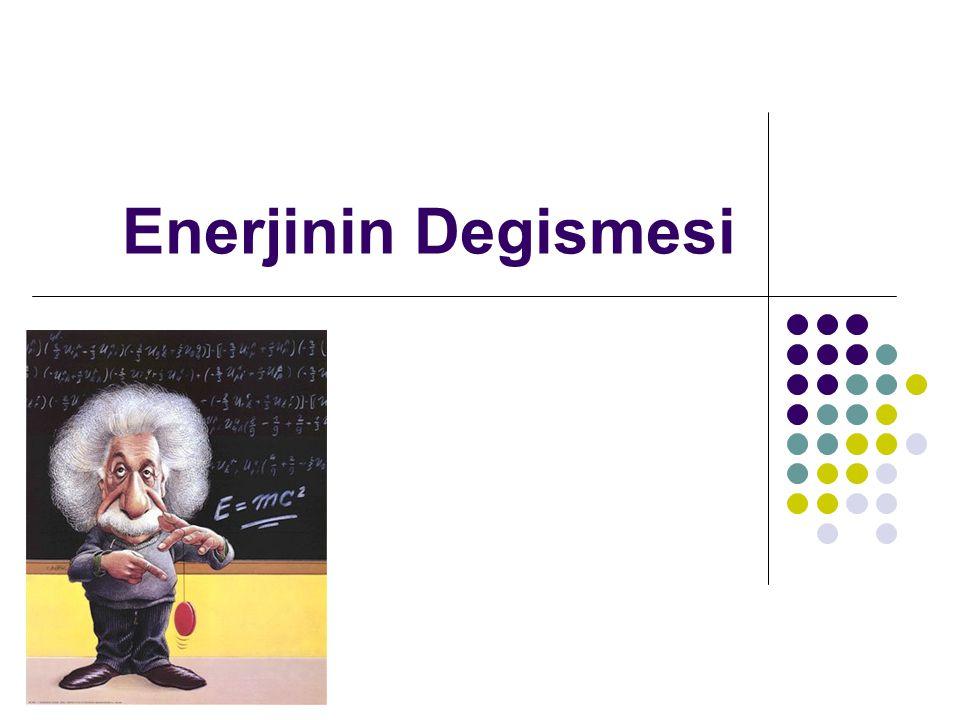 Enerji elde edilmez,kayip olmas, sadece,,Degisir Ornek:potansiyel enerji-kinetik.e.