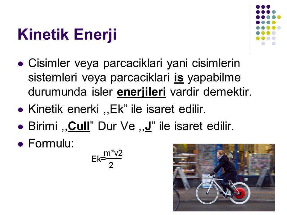 Kinetik Enerji Cisimler veya parcaciklari yani cisimlerin sistemleri veya parcaciklari is yapabilme durumunda isler enerjileri vardir demektir.