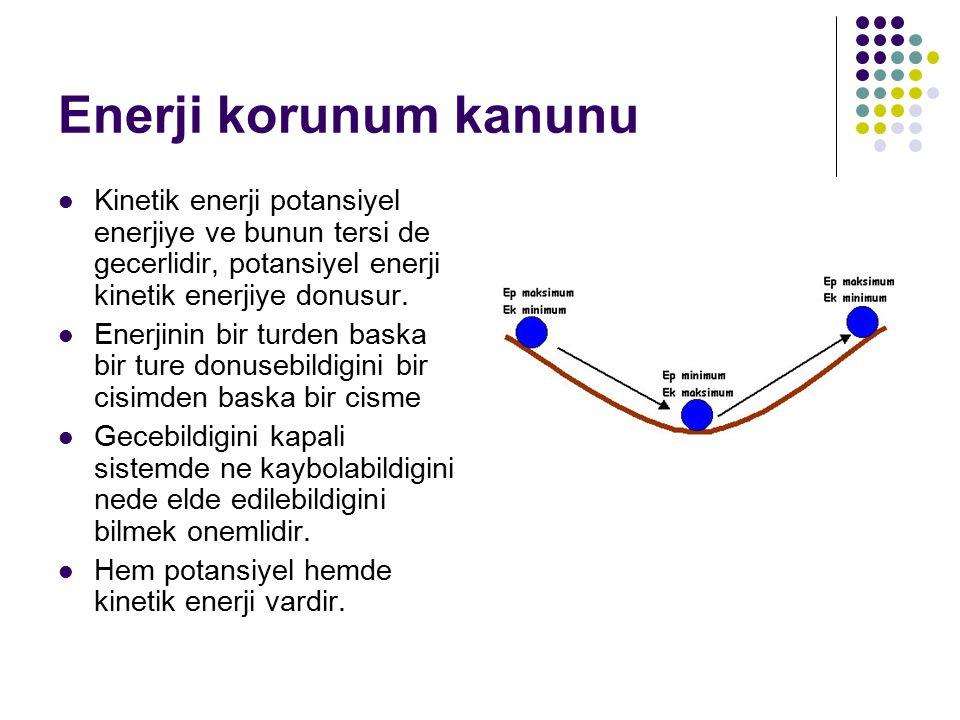 Enerji korunum kanunu Kinetik enerji potansiyel enerjiye ve bunun tersi de gecerlidir, potansiyel enerji kinetik enerjiye donusur.