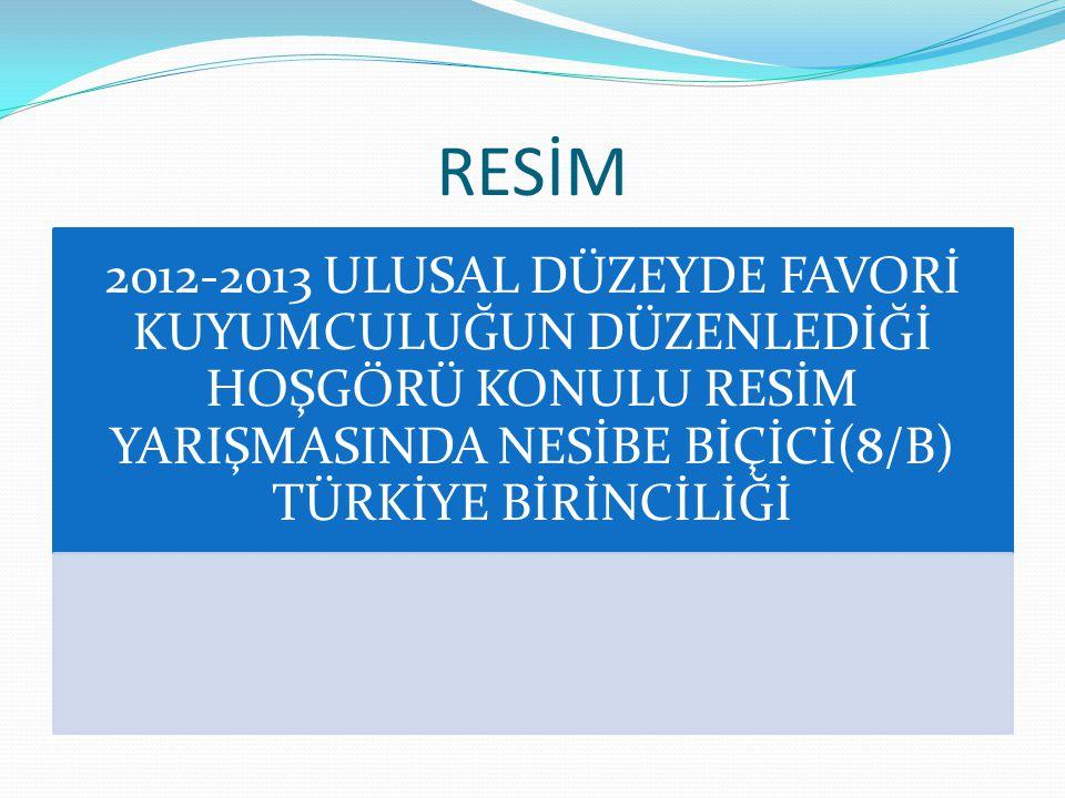 RESİM 2012-2013 ULUSAL DÜZEYDE FAVORİ KUYUMCULUĞUN DÜZENLEDİĞİ HOŞGÖRÜ KONULU RESİM YARIŞMASINDA NESİBE BİÇİCİ(8/B) TÜRKİYE BİRİNCİLİĞİ