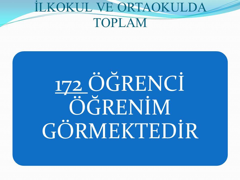 İLKOKUL VE ORTAOKULDA TOPLAM 172 ÖĞRENCİ ÖĞRENİM GÖRMEKTEDİR