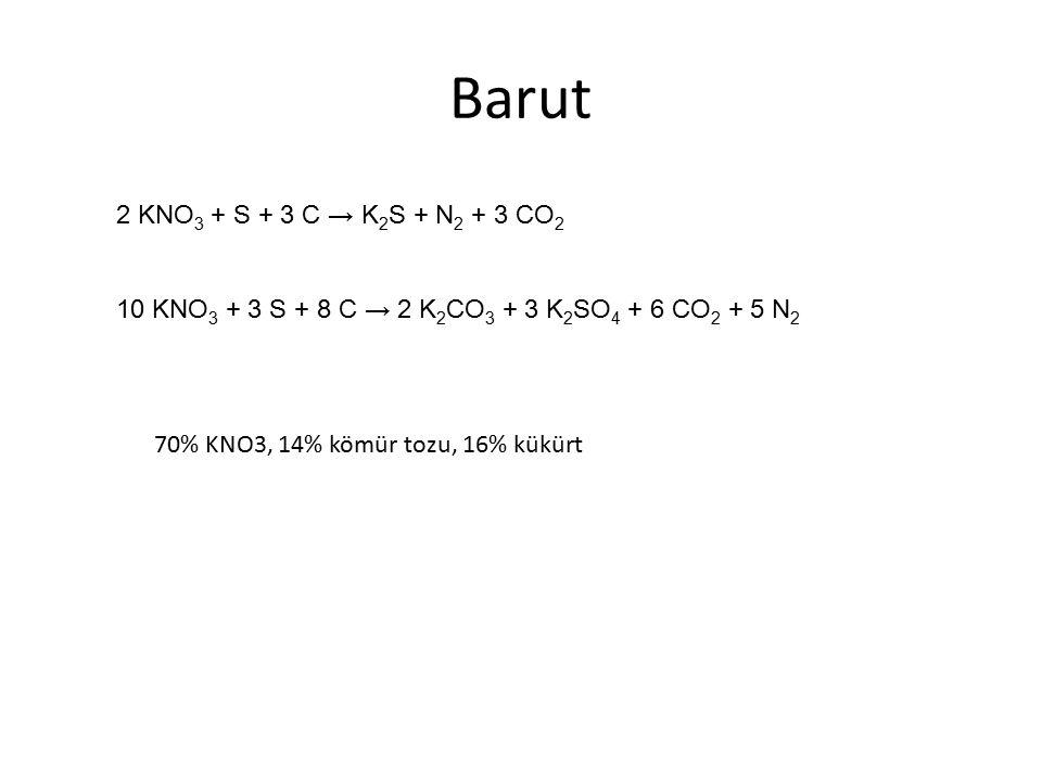 2 KNO 3 + S + 3 C → K 2 S + N 2 + 3 CO 2 10 KNO 3 + 3 S + 8 C → 2 K 2 CO 3 + 3 K 2 SO 4 + 6 CO 2 + 5 N 2 70% KNO3, 14% kömür tozu, 16% kükürt