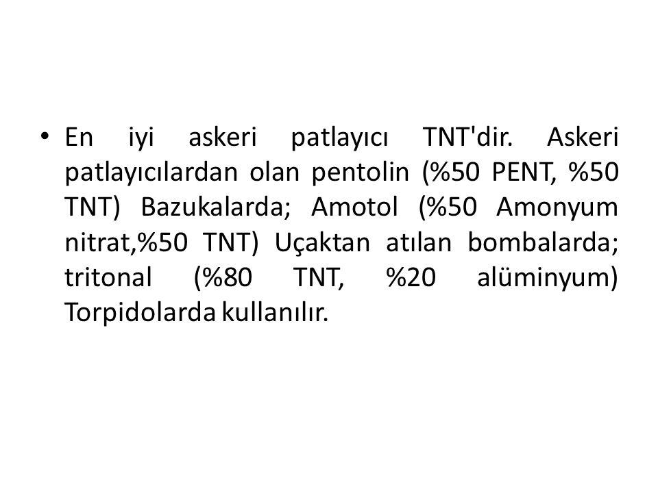 En iyi askeri patlayıcı TNT'dir. Askeri patlayıcılardan olan pentolin (%50 PENT, %50 TNT) Bazukalarda; Amotol (%50 Amonyum nitrat,%50 TNT) Uçaktan atı