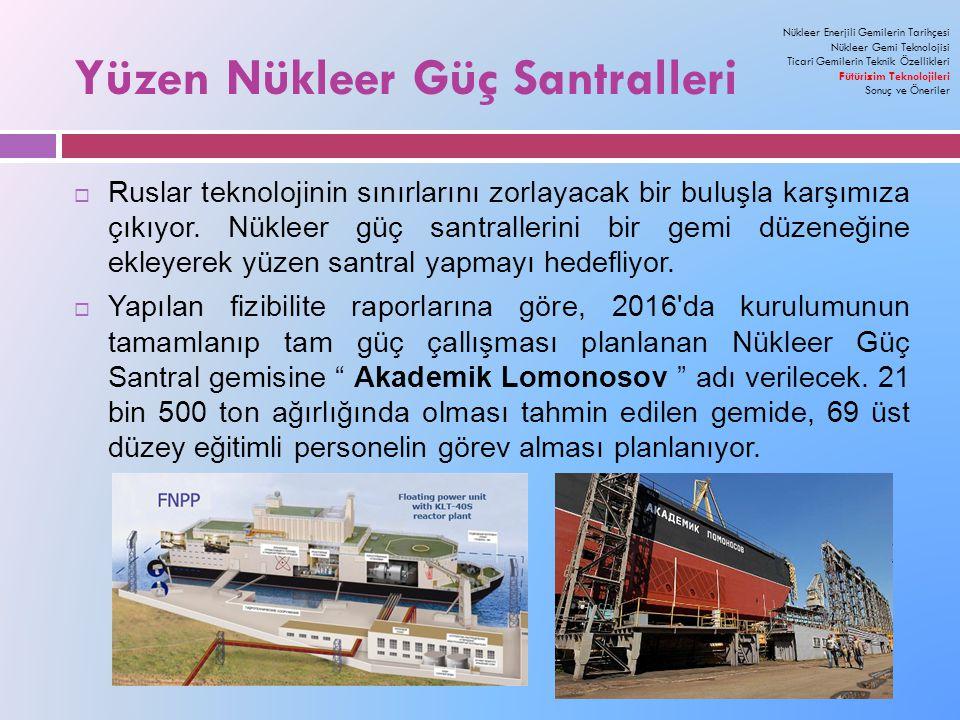 Yüzen Nükleer Güç Santralleri Nükleer Enerjili Gemilerin Tarihçesi Nükleer Gemi Teknolojisi Ticari Gemilerin Teknik Özellikleri Fütürizim Teknolojileri Sonuç ve Öneriler  Ruslar teknolojinin sınırlarını zorlayacak bir buluşla karşımıza çıkıyor.