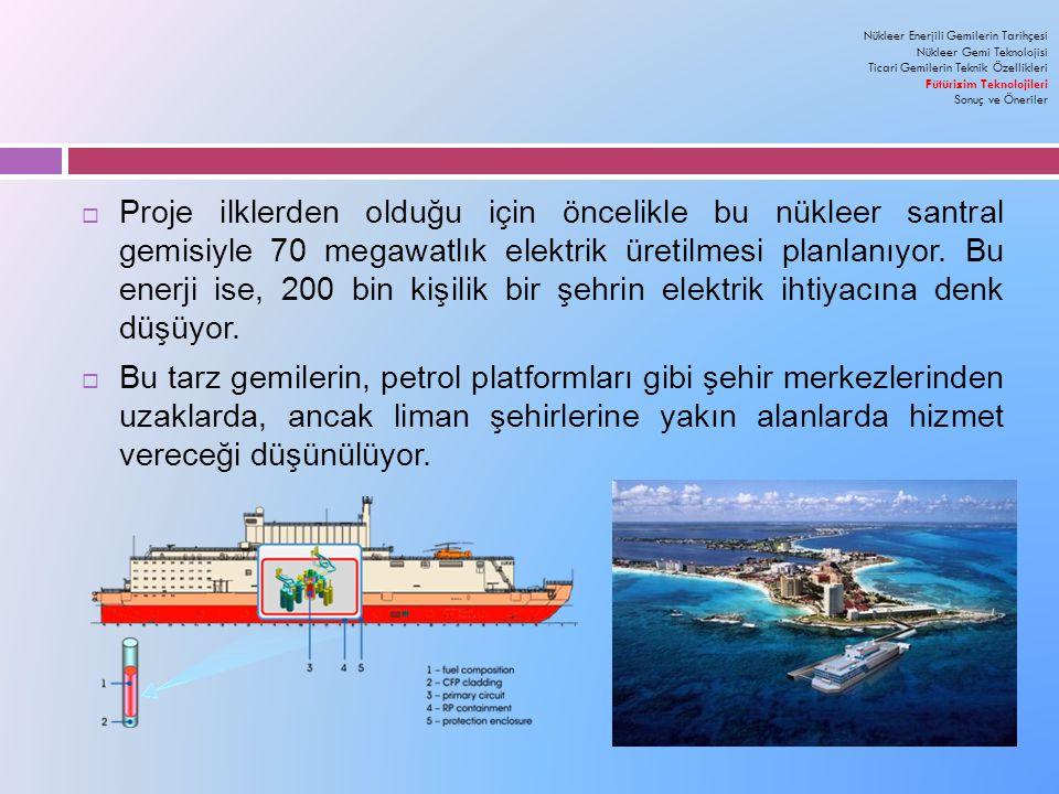  Proje ilklerden olduğu için öncelikle bu nükleer santral gemisiyle 70 megawatlık elektrik üretilmesi planlanıyor.