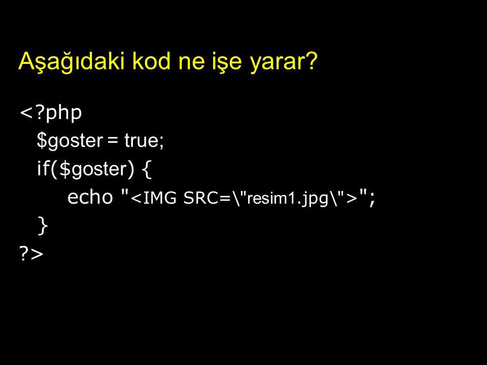 Aşağıdaki kod ne işe yarar? <?php $goster = true; if($ goster ) { echo