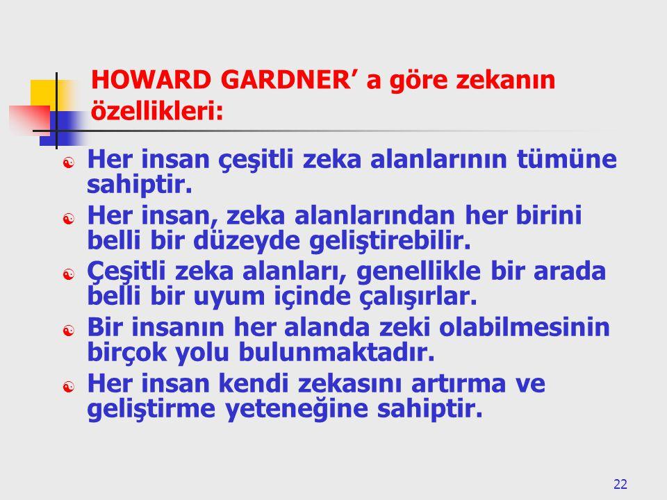 22 HOWARD GARDNER' a göre zekanın özellikleri:  Her insan çeşitli zeka alanlarının tümüne sahiptir.