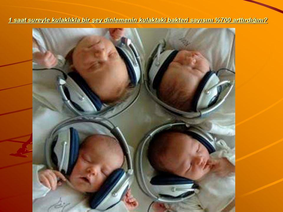 1 saat sureyle kulaklıkla bir şey dinlemenin kulaktaki bakteri sayısını %700 arttırdığını?