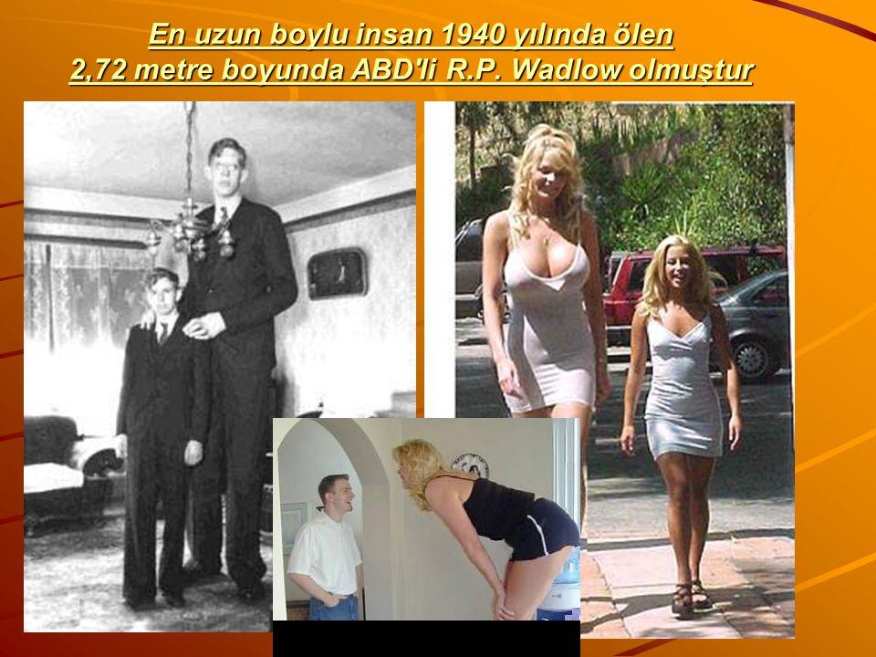 En uzun boylu insan 1940 yılında ölen 2,72 metre boyunda ABD'li R.P. Wadlow olmuştur