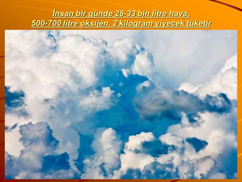 İnsan bir günde 28-33 bin litre hava, 500-700 litre oksijen, 2 kilogram yiyecek tüketir