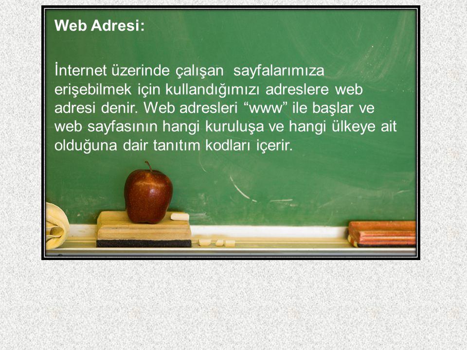 """Web Adresi: İnternet üzerinde çalışan sayfalarımıza erişebilmek için kullandığımızı adreslere web adresi denir. Web adresleri """"www"""" ile başlar ve web"""