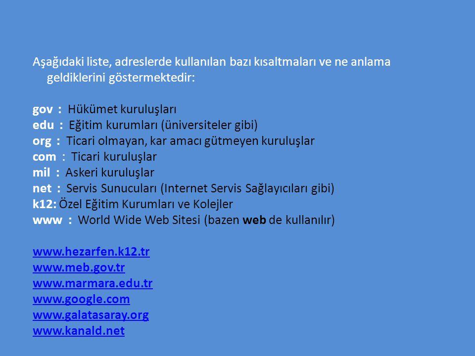 Aşağıdaki liste, adreslerde kullanılan bazı kısaltmaları ve ne anlama geldiklerini göstermektedir: gov : Hükümet kuruluşları edu : Eğitim kurumları (ü