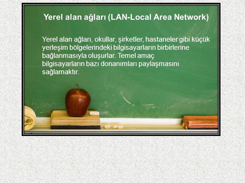 Yerel alan ağları (LAN-Local Area Network) Yerel alan ağları, okullar, şirketler, hastaneler gibi küçük yerleşim bölgelerindeki bilgisayarların birbir