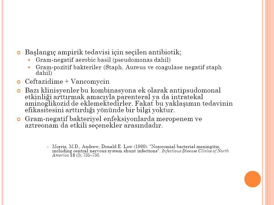 Başlangıç ampirik tedavisi için seçilen antibiotik; Gram-negatif aerobic basil (pseudomonas dahil) Gram-pozitif bakteriler (Staph. Aureus ve coagulase