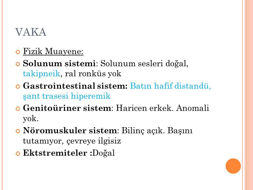 VAKA Fizik Muayene: Solunum sistemi : Solunum sesleri doğal, takipneik, ral ronküs yok Gastrointestinal sistem: Batın hafif distandü, şant trasesi hip
