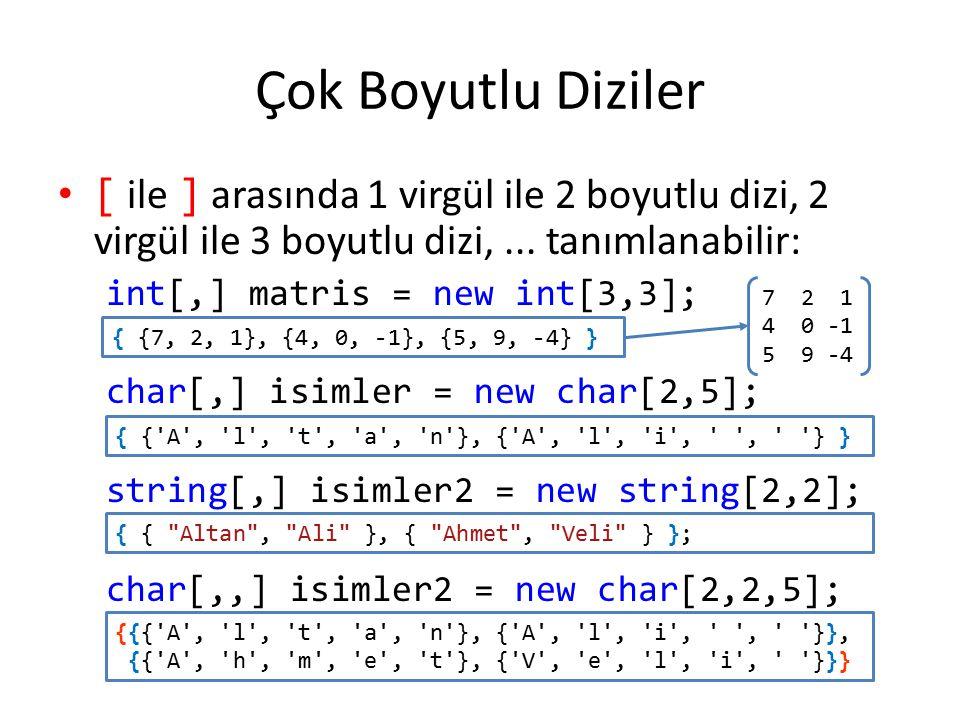 Çok Boyutlu Diziler [ ile ] arasında 1 virgül ile 2 boyutlu dizi, 2 virgül ile 3 boyutlu dizi,... tanımlanabilir: int[,] matris = new int[3,3]; char[,