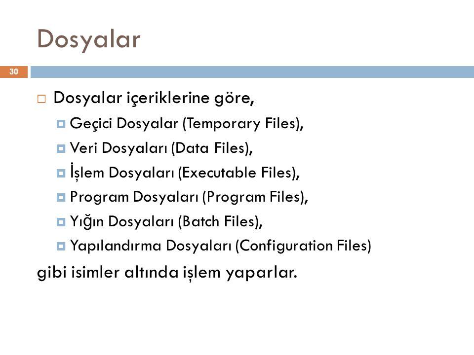 Dosyalar 30  Dosyalar içeriklerine göre,  Geçici Dosyalar (Temporary Files),  Veri Dosyaları (Data Files),  İ şlem Dosyaları (Executable Files), 