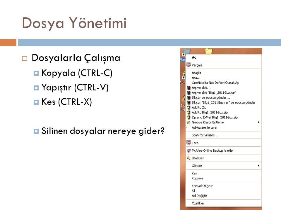Dosya Yönetimi  Dosyalarla Çalışma  Kopyala (CTRL-C)  Yapıştır (CTRL-V)  Kes (CTRL-X)  Silinen dosyalar nereye gider?