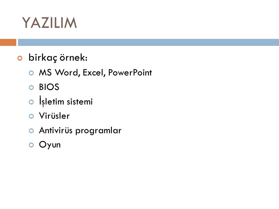 YAZILIM birkaç örnek: MS Word, Excel, PowerPoint BIOS İ şletim sistemi Virüsler Antivirüs programlar Oyun