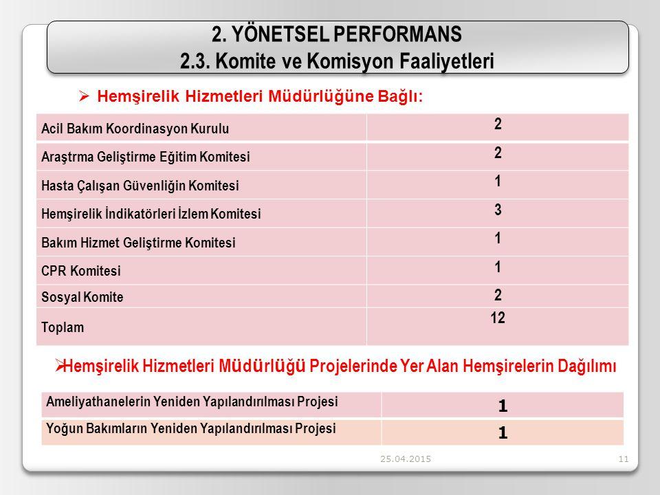 25.04.201511 2. YÖNETSEL PERFORMANS 2.3. Komite ve Komisyon Faaliyetleri 2. YÖNETSEL PERFORMANS 2.3. Komite ve Komisyon Faaliyetleri  Hemşirelik Hizm