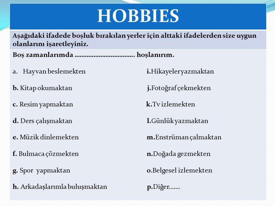HOBBIES Aşağıdaki ifadede boşluk bırakılan yerler için alttaki ifadelerden size uygun olanlarını işaretleyiniz.