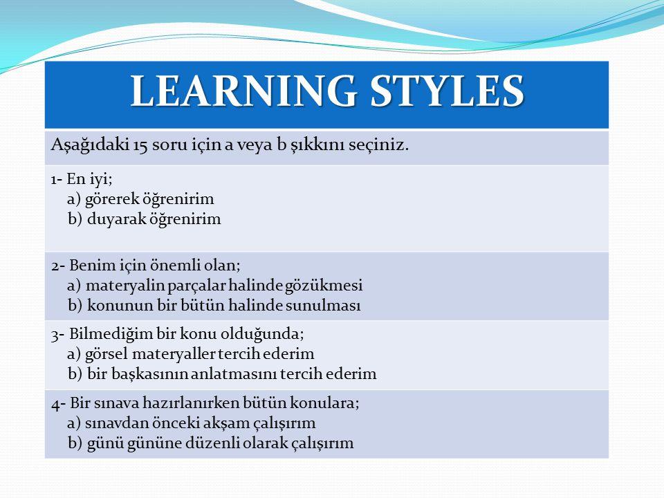 LEARNING STYLES Aşağıdaki 15 soru için a veya b şıkkını seçiniz.
