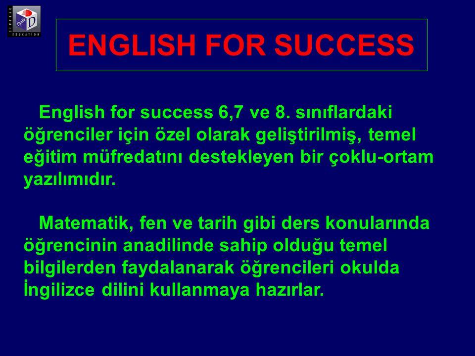 7 üniteden oluşan English for Success yazılımında 1 ve 2.