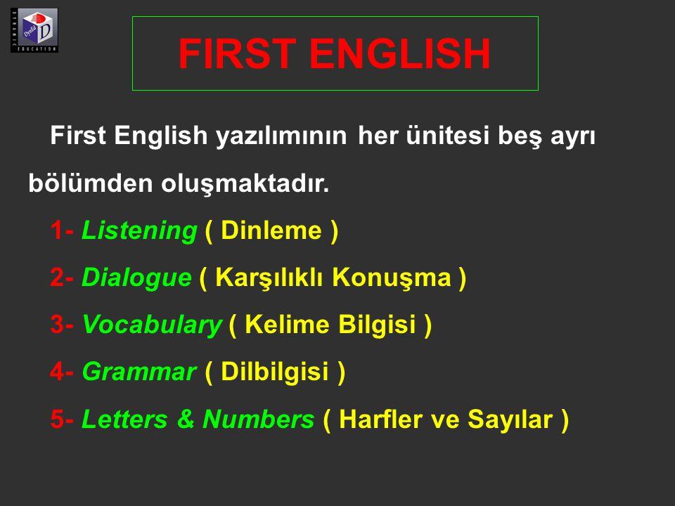 First English yazılımının her ünitesi beş ayrı bölümden oluşmaktadır. 1- Listening ( Dinleme ) 2- Dialogue ( Karşılıklı Konuşma ) 3- Vocabulary ( Keli