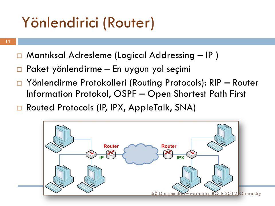 Yönlendirici (Router)  Mantıksal Adresleme (Logical Addressing – IP )  Paket yönlendirme – En uygun yol seçimi  Yönlendirme Protokolleri (Routing P