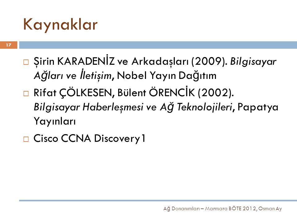 Kaynaklar  Şirin KARADEN İ Z ve Arkadaşları (2009). Bilgisayar A ğ ları ve İ letişim, Nobel Yayın Da ğ ıtım  Rifat ÇÖLKESEN, Bülent ÖRENC İ K (2002)