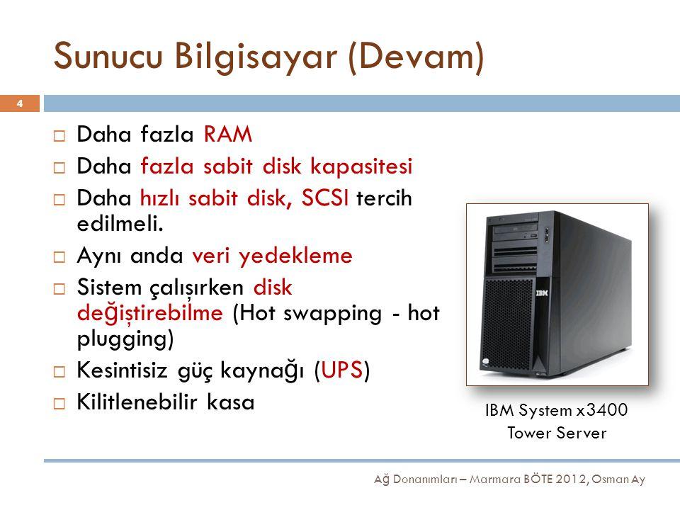 Sunucu Bilgisayar (Devam) A ğ Donanımları – Marmara BÖTE 2012, Osman Ay 4  Daha fazla RAM  Daha fazla sabit disk kapasitesi  Daha hızlı sabit disk,