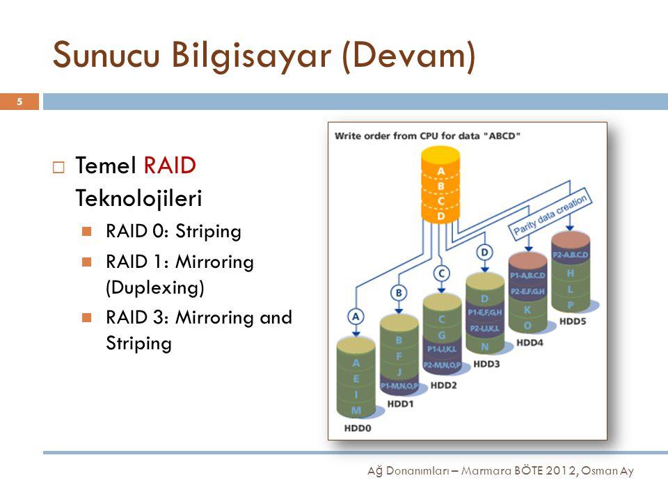 Sunucu Bilgisayar (Devam)  Temel RAID Teknolojileri RAID 0: Striping RAID 1: Mirroring (Duplexing) RAID 3: Mirroring and Striping 5 A ğ Donanımları –