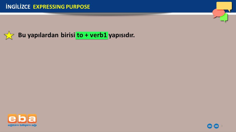 3 Bu yapılardan birisi to + verb1 yapısıdır. İNGİLİZCE EXPRESSING PURPOSE