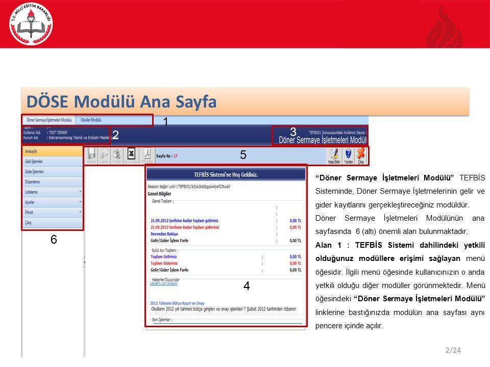 3/24 DÖSE Modülü Ana Sayfa Alan 2 : TEFBİS Sisteminde tanımlı olan kullanıcı bilgileriniz gösterilmektedir.