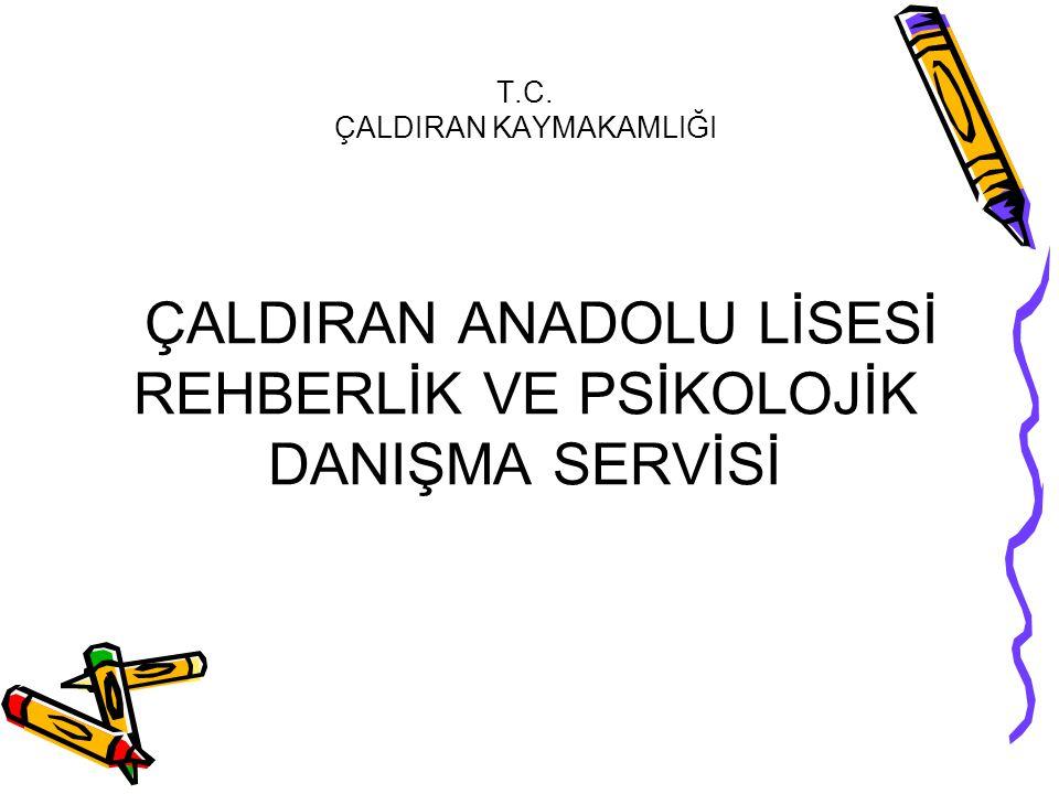 T.C. ÇALDIRAN KAYMAKAMLIĞI ÇALDIRAN ANADOLU LİSESİ REHBERLİK VE PSİKOLOJİK DANIŞMA SERVİSİ