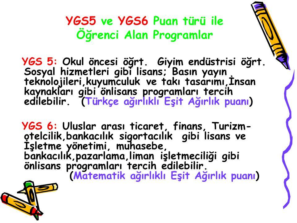 YGS5 ve YGS6 Puan türü ile Öğrenci Alan Programlar YGS 5: Okul öncesi öğrt. Giyim endüstrisi öğrt. Sosyal hizmetleri gibi lisans; Basın yayın teknoloj
