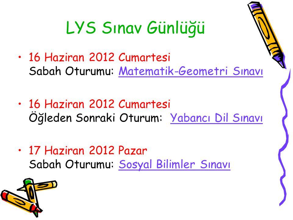 LYS Sınav Günlüğü 16 Haziran 2012 Cumartesi Sabah Oturumu: Matematik-Geometri Sınavı 16 Haziran 2012 Cumartesi Öğleden Sonraki Oturum: Yabancı Dil Sın