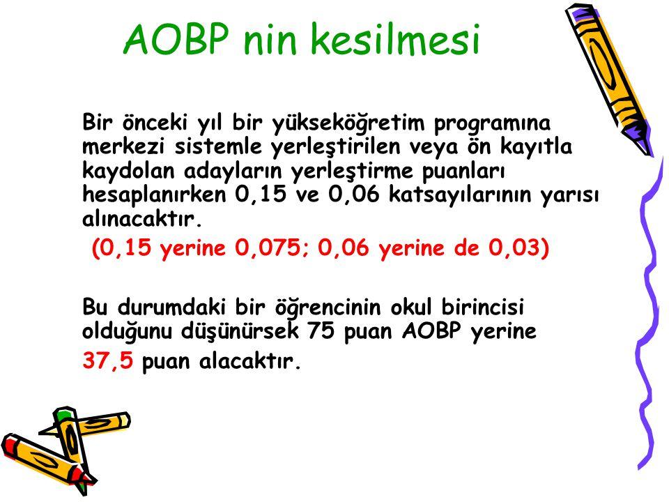 AOBP nin kesilmesi Bir önceki yıl bir yükseköğretim programına merkezi sistemle yerleştirilen veya ön kayıtla kaydolan adayların yerleştirme puanları