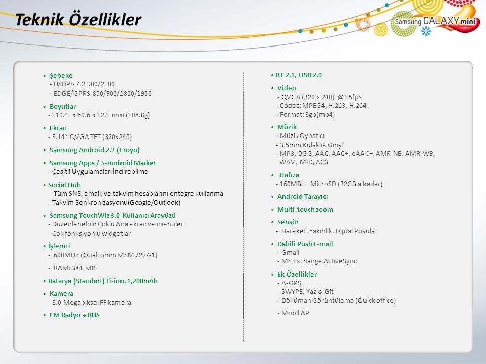 Teknik Özellikler Şebeke - HSDPA 7.2 900/2100 - EDGE/GPRS 850/900/1800/1900 Boyutlar - 110.4 x 60.6 x 12.1 mm (108.8g) Ekran - 3.14 QVGA TFT (320x240) Samsung Android 2.2 (Froyo) Samsung Apps / S-Android Market - Çeşitli Uygulamaları İndirebilme Social Hub - Tüm SNS, email, ve takvim hesaplarını entegre kullanma - Takvim Senkronizasyonu(Google/Outlook) Samsung TouchWiz 3.0 Kullanıcı Arayüzü - Düzenlenebilir Çoklu Ana ekran ve menüler - Çok fonksiyonlu widgetlar İşlemci - 600MHz (Qualcomm MSM 7227-1) - RAM: 384 MB Batarya (Standart) Li-ion, 1,200mAh Kamera - 3.0 Megapiksel FF kamera FM Radyo + RDS BT 2.1, USB 2.0 Video - QVGA (320 x 240) @ 15fps - Codec: MPEG4, H.263, H.264 - Format: 3gp(mp4) Müzik - Müzik Oynatıcı - 3.5mm Kulaklık Girişi - MP3, OGG, AAC, AAC+, eAAC+, AMR-NB, AMR-WB, WAV, MID, AC3 Hafıza - 160MB + MicroSD (32GB a kadar) Android Tarayıcı Multi-touch zoom Sensör - Hareket, Yakınlık, Dijital Pusula Dahili Push E-mail - Gmail - MS Exchange ActiveSync Ek Özellikler - A-GPS - SWYPE, Yaz & Git - Döküman Görüntüleme (Quick office) - Mobil AP