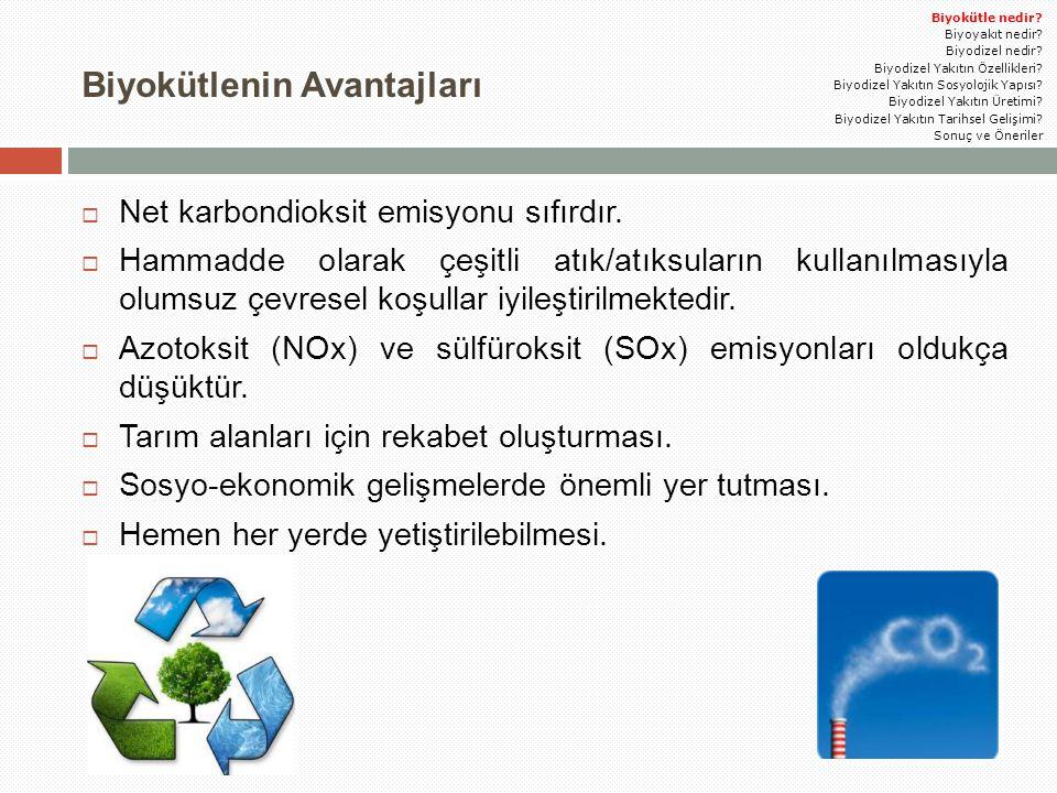 Biyokütlenin Avantajları  Net karbondioksit emisyonu sıfırdır.  Hammadde olarak çeşitli atık/atıksuların kullanılmasıyla olumsuz çevresel koşullar i