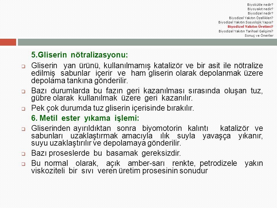 5.Gliserin nötralizasyonu:  Gliserin yan ürünü, kullanılmamış katalizör ve bir asit ile nötralize edilmiş sabunlar içerir ve ham gliserin olarak depo