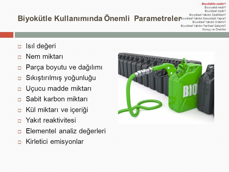 Biyokütle Kullanımında Önemli Parametreler  Isıl değeri  Nem miktarı  Parça boyutu ve dağılımı  Sıkıştırılmış yoğunluğu  Uçucu madde miktarı  Sa