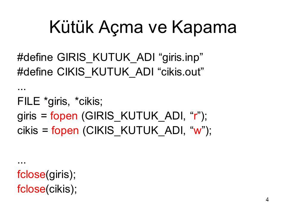 """4 Kütük Açma ve Kapama #define GIRIS_KUTUK_ADI """"giris.inp"""" #define CIKIS_KUTUK_ADI """"cikis.out""""... FILE *giris, *cikis; giris = fopen (GIRIS_KUTUK_ADI,"""